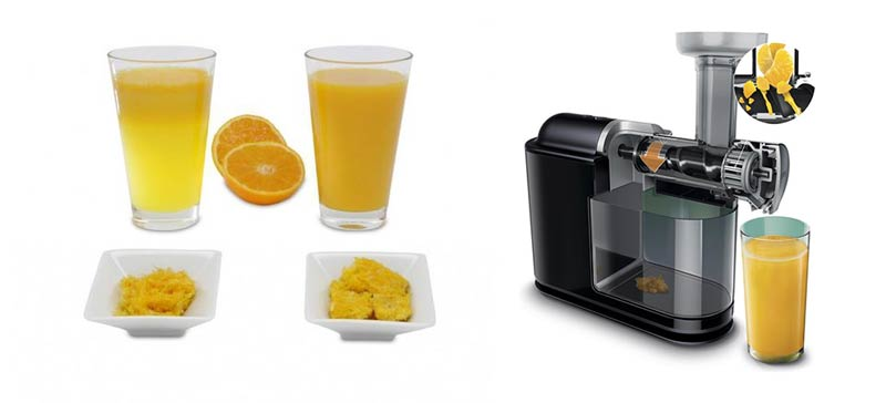 Sinaasappel in slowjuicer